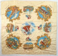"TOWNS OF FRANCE, CREAM TOURISM TRAVEL 30"" SQUARE, 1960s VINTAGE SCARF"