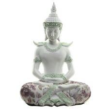 Thai Buddha meditierend weiß Glanz mit Blumen Figur Weisheit Dekofigur glänzend