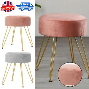 Dressing Table Stool Velvet Shaggy Vanity Seat Bedroom Makeup Piano Chair Pouffe