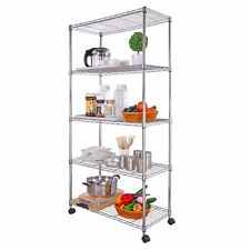 Lifewit 5 Tier Wire Shelving Unit Wheels Steel Wire Storage Rack Shelves Chrome