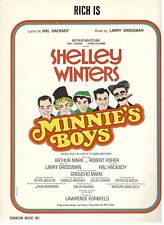 """GROUCHO MARX """"RICH IS"""" SHELLEY WINTERS FROM MINNIE'S BOYS SHEET MUSIC-1970-RARE!"""