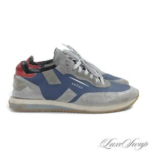 MODERN Ghoud Grey Suede Blue Leather Colorblock Trainers Sneakers Retro Shoes 44