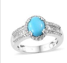 Arizona Slee Beauty Turquoise, Cambodian zircon Ring In Platinum Over...
