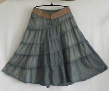 Chip Pepper Midi Skirt A-Line Tiered Leather Waist Band/Stud Cotton Size 27