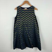 Gorman Womens Dress Medium Blue Bronze Chevron Sleeveless A-Line Round Neck