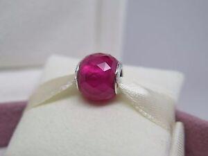 New w/Box Pandora Synthetic Ruby Red Geometric Facets Glass Charm 791722SRU Bead
