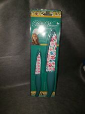 The Pioneer Woman Gorgeous Garden Knife Cutlery Set of 2 Blade Guard Teal White