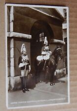 Postcard Military Horse guards Sentries Whitehall London Real Photo .