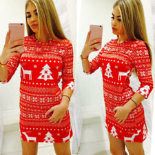 Women Winter Knitted Jumper Christmas Sweater Pullover Knitwear Long Tops Dress