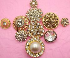 Mixed Sparkling Glass Rhinestone Gold Tone Metal Shank Buttons~Great Price!