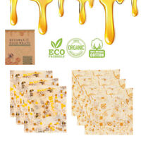 3Pcs Beeswax Food Storage Wraps Reusable Hygenic Natural Bee Wax Cloth Fabric