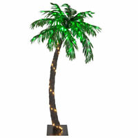 LED Lighted Curved Palm Tree Outdoor Indoor Patio Pool Summer Tropical Display