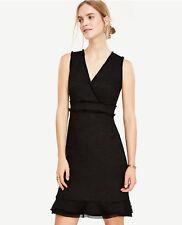 Ann Taylor NWT Fringe Tweed Flounce Dress. Lined. 6
