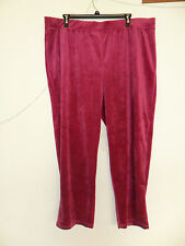 Faded Glory Women's Plus-Size Velour Pants Color:Fuchsia Size:3X(22w-24w) New wt