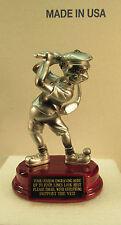 Golf Trophy Award Low Score Comic Golfer Rosewood Base FREE Engraving 2 Day Mail