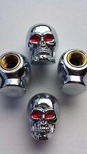 Silver Cráneo Rojo Ojos Auto Moto Motocicleta Rueda Neumático Válvula Polvo Gorras. Conjunto de 4