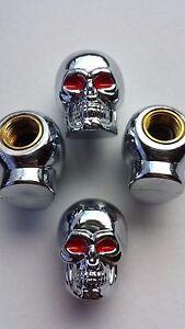 Silver Skull Red Eyed Car Bike Motorcycle Wheel Tyre Valve Dust Caps. Set of  4