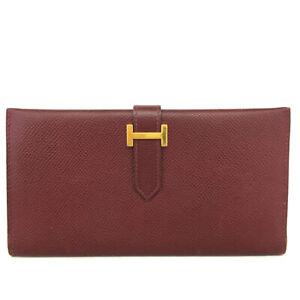HERMES Bearn Bordeaux Epsom Leather Long Bifold Wallet /E0644