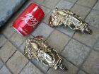 Vintage Pair Brass Foot For Furniture Leg End Caps Leg Covers Nice Old Ornaments