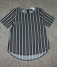 Dotti: Size: 10. Stylish Slimming Black/White Vertical Stripe, Short-Sleeve Top