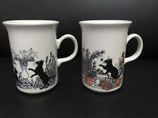 2 X Churchill Ceramic Mug With Lovely Blsck Cats Design New