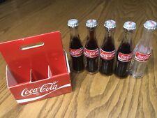 Mini Enjoy Coke Coca Cola 6 Pack Paper Carton Small Glass 5 Bottles Vintage
