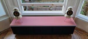 Designer Glass Large TV Stand Media Unit Acoustic Fabric (Alphason?)