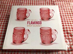 New Set 4 Pink Flamingo Shot Glasses Gift Box Set Two's Company 2.5 oz RETRO Bar