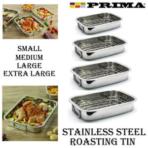 ROASTING TRAY STAINLESS STEEL OVEN PAN DISH MEAT BAKING ROASTER TIN GRILL RACK