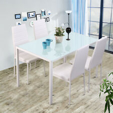 White High Gloss Dining Table Set w/ Glass Top And 4 FLeather Dining Room Chairs