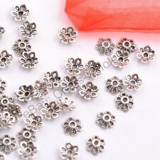 100Pcs Tibetan Silver Metal Flower Loose Spacer Beads Caps Lots 6MM CA3012