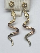 14k Yellow ,White And Rose real Gold Snake Earrings  1.5 inches long 3.6 grams