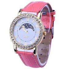 Women Gold Platinum Range Rhinestone Analog Pink Leather Quartz Wrist Watch.