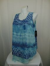 Style & Co Plus Size Sleeveless Printed Handkerchief Hem Tank Top 1X Aqua #3950