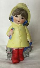 Vintage Jasco Taiwan Girl With Kittens In A Raincoat Ceramic Pomander Figurine