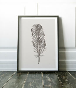 Feather Print, Grey Print, Feather Wall Art, Grey Wall Art, Minimalist Print
