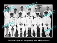 OLD LARGE HISTORIC PHOTO OF AUSTRALIAN NAVY THE HMAS SYDNEY OFFICIERS WWII 1941