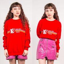 90'S WOMENS BRIGHT RED WALNUT GROVE WILDCATS SWEATSHIRT RAINBOW SPORTS 12 14