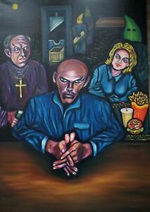 Pero Peter Roth Pop Art Öl Gemälde Großformat 81x100cm Henkersmahlzeit 1995