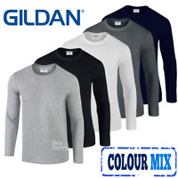 Gildan 3 x  MEN'S LONG SLEEVE T-SHIRT SOFT COTTON PLAIN TOP SLEEVES CASUAL PACK