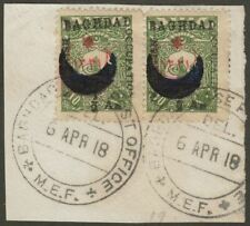 Iraq British Occupation Baghdad 1918 ½a on 10pa Pair Used SG19 cat£1000 BPA Cert