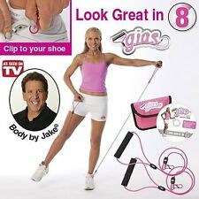 Body By Jake Gym In A Shoe Clips Handle Resistance Bands Exercise Ab Workout DVD
