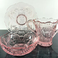 Mosser Matching Rose/Pink Thistle Pattern Sugar Bowl, Bowl, and Plate