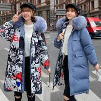 Womens Fur Hooded Winter Long Padded Coat Puffer Down Jacket Parka Reversible