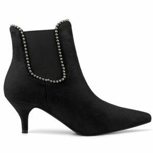 Allegra K Women's Pointed Toe Beaded Kitten Heel Ankle Chelsea Boots Black 8.5 M