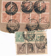 España. Dos bloques con sellos de Alfonso XIII tipo Pelón