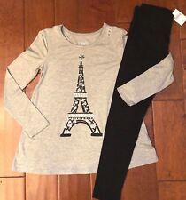 NWT JUSTICE Girls 8 Gray PARIS Long Sleeve Swingy Tee & Black Leggings