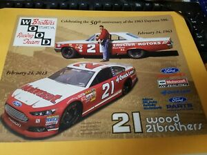 Tiny Lund 50th anniversary of the Daytona 500 Wood Brothers 2/24/2013 Postcard