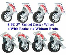 """8 PC 3"""" Swivel Caster Wheel With Ball Bearings 4 PC With Brake + 4 PC Without"""