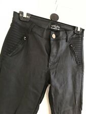 Womens Black Leather Look Coated Jeans Size Medium 10-12